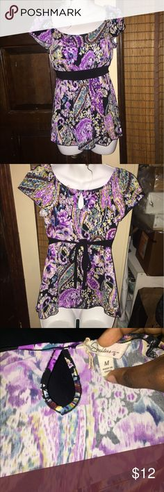 lovely, colorful blouse ! all the colors pop on this blouse, never worn so it's in tip top condition . Soft, flowing material ! Feel free to offer Tops Blouses
