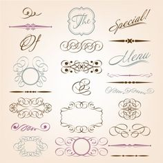 European style lace pattern vector elements | vector flourishes | information graphics
