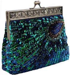evening bags: PrettyGuide Women's Hand-made Peacock Beaded Sequin Clutch Evening Handbag Turquoise One Size Beaded Purses, Beaded Bags, Beaded Clutch, Moda Hippie, Kelly Bag, Unique Bags, Vintage Purses, Vintage Clutch, Vintage Hats