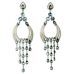 Long Diamond/Aquamarine Chandelier Earrings at 1stdibs