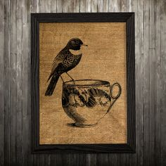 Birds print. Burlap poster. Animal decor. Vintage print.  PLEASE NOTE: this is not actual burlap, this is an art print, the image is printed on art
