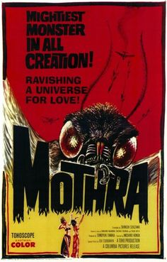 Mothra - Horror Movie Poster Print - Vintage B Movie Poster - kitsch Horror Movie Posters, Old Movie Posters, Classic Movie Posters, Classic Horror Movies, Movie Poster Art, Poster S, Poster Prints, Vintage Posters, Cinema Posters