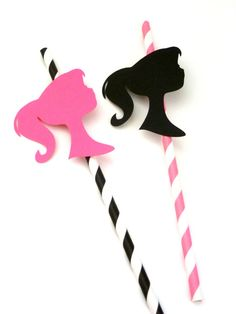 Items similar to 12 Barbie Silhouette die Cut Birthday Party Straw Props Party Favors Table Decorations Pink Black on Etsy Vintage Barbie Party, Barbie Theme Party, Barbie Birthday Party, 5th Birthday Party Ideas, Birthday Party Favors, Birthday Party Decorations, Table Decorations, 7th Birthday, Barbie Princess