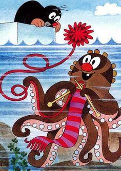 (2017-01) Muldvarpen kigger på en strikkende blæksprutte