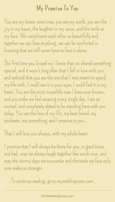 Wedding quotes and sayings vows i promise 51 Ideas Soulmate Love Quotes, Cute Love Quotes, Romantic Love Quotes, Love Quotes For Him, Romantic Poems, Wedding Vows To Husband, Wedding Vows That Make You Cry, Love Poems For Weddings, Second Weddings