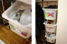 Ikea trofast storage bins for the closet - drill holes and use a rope!  Brilliant!