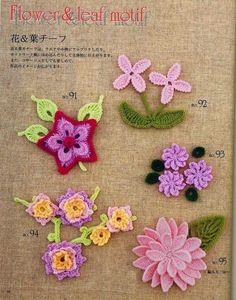 208 Patrones de Flores. Tutoriales - Patrones Crochet