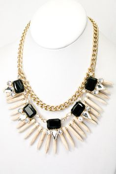 The Rendezvous Statement Necklace - Ivory + Black