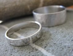 14k white Gold Rings  His and Hers set by AurumJewelry on Etsy, $1090.00