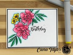 I coloured this stunning floral image with Copic markers, Full video tutorial, and supplies list to make it easy to recreate this card!! Lists To Make, Copic Markers, Digital Stamps, Birthday Cards, Joy, Floral, Pink, Design, Bday Cards