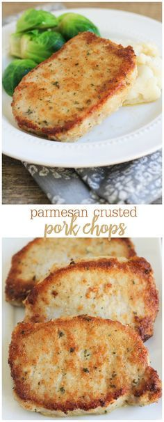 Parmesan Crusted Pork Chops - one of our favorite recipes. AND it's EASY! Recipe on  lilluna.com