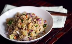 Quinoa Salad with Zucchini, Almonds and Toasted Sesame Dressing