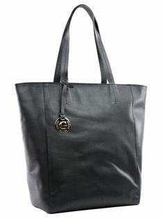 Bolsa feminina estilo minimalista em tamanho grande. Confeccionada toda em couro, com forro de tecido listrado e quatro bolsos internos. Este modelo foi usado pela atriz Taís Araújo na novela Geração Brasil.