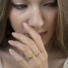 Διπλό δαχτυλίδι δάχτυλο Σύγχρονη ρυθμιζόμενο δαχτυλίδι Minimal