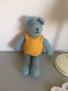 Knitted Teddy in Skimming Stones