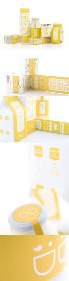 Love the fun quirky details within this design. The use of yellow holds fun happy connotations, the use of typeface and illustrations enhances the references to young, fun qualities- all targeting the audience of students. Milk Packaging, Beverage Packaging, Pretty Packaging, Product Packaging, Brand Packaging, Product Label, Label Design, Print Design, Branding Design