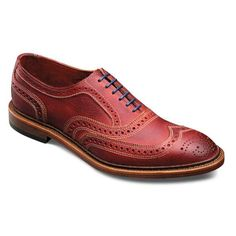 Neumok - unlined wingtip lace-up brogues | Red with Blue Laces | Mens Shoes by Allen Edmonds