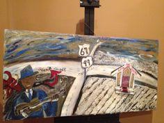 """Delta Blues Crossroads"" painting by Mississippi Delta Blues/Folk artist~ Andrea Skates White"