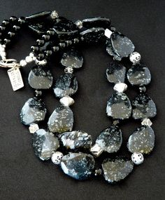 Snowflake Obsidian 2-Strand Necklace with Rutilated Quartz, Vintage Jet, Onyx Rounds & Sterling Silver