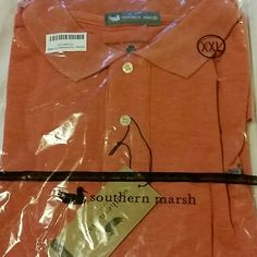 MEN'S Southern Marsh polo, size 2XL, NWT New with tags! Never even taken out of bag. Men's short sleeved Southern Marsh polo shirt in a soft heathered red. Runs small, fits like an XL. Chest measures 26.5 inches across laying flat. 30.5 inches long from the shoulder. 96% cotton, 4% elastin. Southern Marsh  Tops