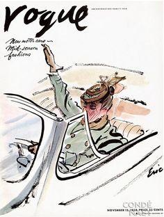 Fashion Illustration Vogue Cover - November 1938 Poster Print by Carl - Vogue Cover Illustration Of A Woman Driving A Car by Carl Oscar August Erickson Vogue Vintage, Vintage Vogue Covers, Foto Fashion, Vogue Fashion, Steampunk Fashion, Gothic Fashion, 1938 Fashion, Gothic Steampunk, Steampunk Clothing