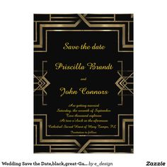 Wedding Save the Date,black,great-Gatsby,script Card Wedding Save the Date black & gold, great-Gatsby, two-sided, monogram-back, font script