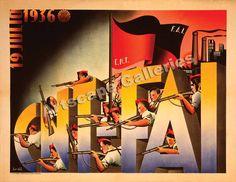 Vintage Art Déco Cnt Fai Affiche 1936 Espagnol Revolution Guerre Civile