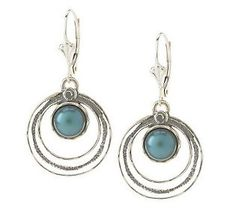 Or Paz Sterling Cultured Pearl Round Textured Lever Back Dangle Earrings