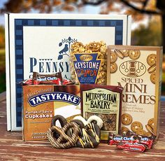 This fun, seasonal gift package is packed with Tastykake Spiced Pumpkin Cupcakes, Sweetzels Spiced Mini Cremes, Pomegranate Cinnamon Granola, Keystone Crunch, Goldenberg's Peanut Chews and Chocolate Pretzels decorated with Fall Stringing!