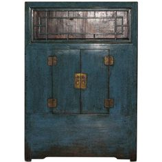 Chinese Blue Kitchen Chest-circa 1890- LENGTH:	 4 ft. 1.3 in. (125 cm) DEPTH:	 21 in. (53 cm) HEIGHT:	 5 ft. 10 in. (178 cm)