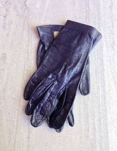 1950s Leather Gloves Navy Blue