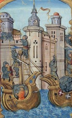 Attacking across a moat by boats; unknown medieval manuscript