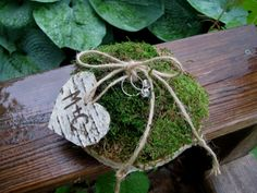 Rustic Personalized Birch Bark Tree Slice Moss by BirchHouseMarket Ring Bearer Pillows, Ring Pillows, Rustic Wedding, Our Wedding, Wedding Ideas, Wedding Planning, Dream Wedding, Wedding Drawing, Tree Slices