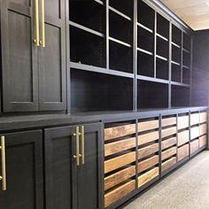 built-ins via joanna gaines Black Cabinets, Built In Cabinets, Kitchen Cabinets, Office Cabinets, Kitchen Wood, Kitchen Units, Joanna Gaines, Interior Paint Colors, Interior Painting