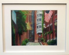 """""""Acorn Street, Beacon Hill"""" Matted unframed print 11""""x 14"""" in mat 10% of sales go to the One Fund"""