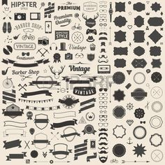 Huge Set Of Vintage Styled Design Hipster Icons. Vector Signs.. Royalty Free…