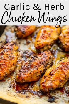 Crispy oven baked chicken wings are the perfect party appetizer! Healthier than deep fried wings, this chicken wing recipe is baked in finger lickin' honey, garlic and herb glaze. Chicken Appetizers, Appetizers For Party, Appetizer Recipes, Crispy Oven Baked Chicken, Baked Chicken Tenders, Oven Baked Chicken Wings, Keto Chicken Wings, Crispy Oven Wings, Baked Wings Recipe