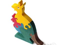 Wooden Puzzle Kangaroo, Wooden toys. Wooden Animal Puzzle M217