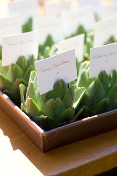 Fresh greenery as place card holders or food dish label display
