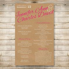 "Wedding program: ""Country Lights"" theme // Kraft paper, shabby chic by TheMombot, $20.00"