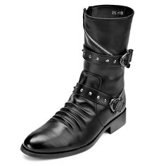 Hot Black Leather Studded Gothic Punk Fashion Boots for Men SKU-1280731