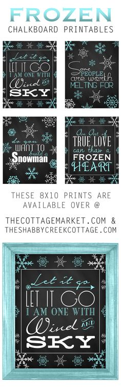 Looking for some fun and fabulous Winter Wall Art? Then check out our newest collection of Frozen Chalkboard Printables. Snatch them up!
