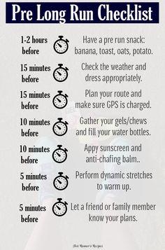 Pre Long Run Checklist: Everything you need for a successful and enjoyable long run in marathon or half marathon training.