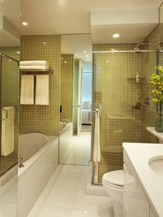 Small Bathroom Design - I don't care for the color tile, but I like the functional design of soaking tub w/ standing shower in a small space.