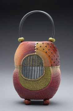 Amasya #2 Purse made of colored polymer clay with intricately hand-applied texture in layers of pattern.