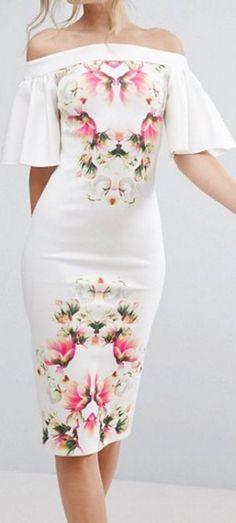 #summer #outfits / flutter sleeve flower print dress