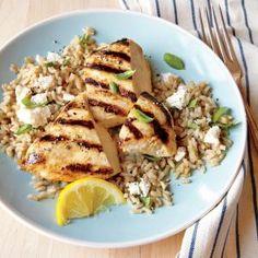 Grilled Lemon Chicken with Feta Rice | MyRecipes.com