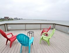 Wake up and have your coffee on the deck while watching a beautiful sunrise over the Galveston Bay or head out for a relaxing walk on the deck just steps away from swimming or fishing in the bay. Lounge in a deck chair and enjoy a good book before the sun sets. Whatever your ideal beach getaway entails, you'll love this power house extraordinaire for the Galveston vacation rental market.