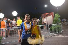 "I made us Beauty & the Beast Disney running costumes for the Tower of Terror Zone 10 Miler Disney race!  Used snaps to attach the Beast's ""bib"" and Belle sash, so it could be easily removed if it had bothered us during the race or wanted to remove quickly after.  Did a blend of super glue, hand-stitching, and iron-stitch.  Tutu was made by my good friend at Tutudaisy.com"