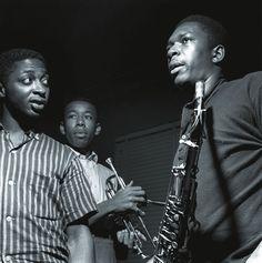 John Coltrane with Curtis Fuller and Lee Morgan, Van Gelder Studio, Hackensack, NJ 1957 Francis Wolff
